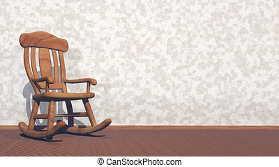 Swaying rocking-chair - 3D render - Old wood rocking chair...