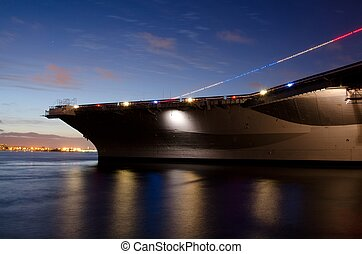 USS Midway - The USS Midway at dusk during the Memorial Day...