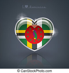 Dominica - Glossy heart shape flags of the Worlds:...