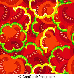 tomato pattern - pattern of pieces of tomato and paprika
