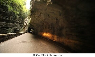 POV in Tunnel and Canyon - trip in a canyon and tunnel on...