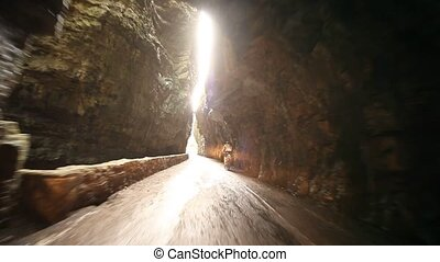 POV in Tunnel and Canyon - road SP 38 at the lake garda in...
