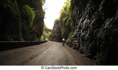 POV in Canyon - road SP 38 at the lake garda in italy,...