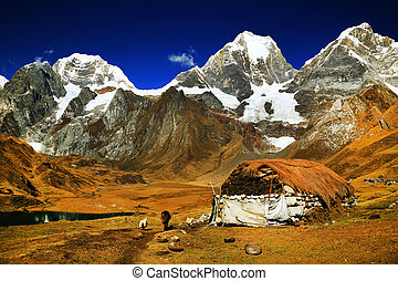 Peruvian mountain village - Mountain village Cordiliera...