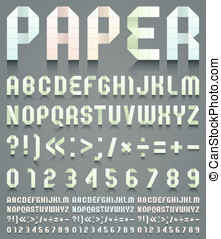 Alphabet folded of perforated paper. Four different colors,...