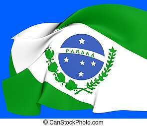 Flag of Parana, Brazil. Close Up.