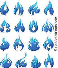 Fire flames, set 3d blue icons, vector illustration