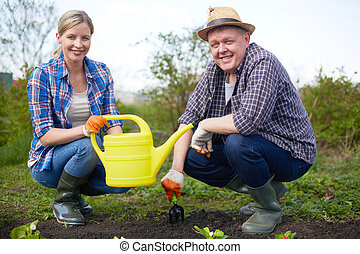 Happy farmers