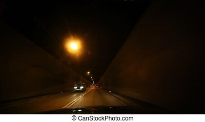 tunnel - video footage of a on board camera in a tunnel