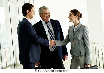 Making agreement - Image of business partners handshaking...