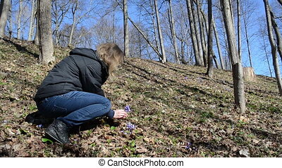girl forest flower - girl squat in the woods reaps violet in...