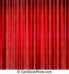 Red background with opera curtains with flowers - Red...