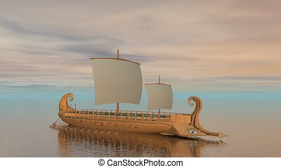 Trireme boat on the ocean - 3D rend