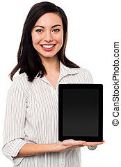 Newly launched tablet device in the market - Saleswoman...