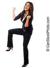 Excited woman, full length portrait - Businesswoman...