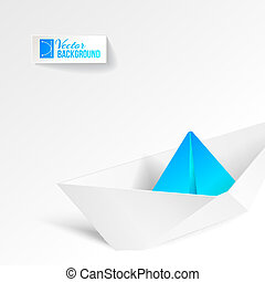 Paper ship origami - Paper ship origami isolated on white...