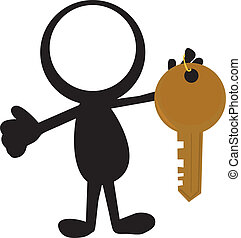 stickman with keys