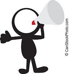 stickman with loudspeaker