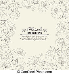 Frame with wreath of poppies Vector illustration