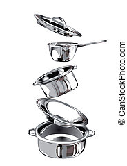 Group of stainless steel kitchenware. 10 EPS