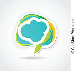 Speech cloud bubble. Green vector background