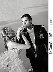 Newlywed Couple Champagne Toast - A newlywed couple enjoy...