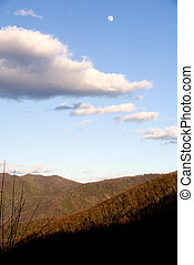 Appalachian Mountains - A full moon over the Appalachian...