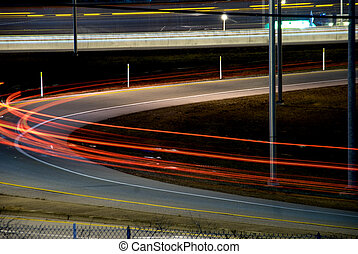 On Ramp - The blur of tail lights on an on ramp