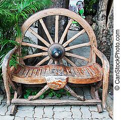 anticaglia, ruota, fatto, giardino, panca, carrello