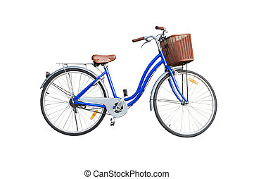 blue ladies bicycle on white background