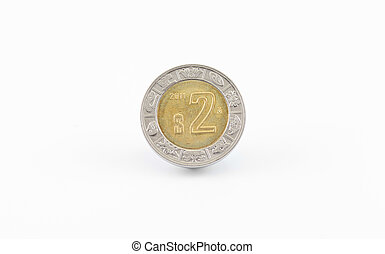 Mexican Peso Coin - Mexican 2 peso coin front view isolated...