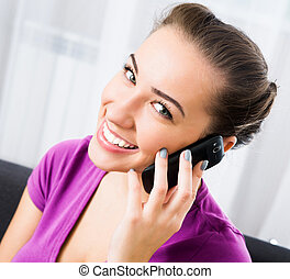 attractive girl with mobile phone - Attractive young...
