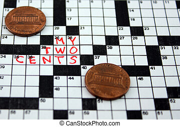 "My Two Cents - A crossword puzzle with the saying \""My Two..."
