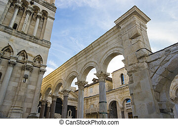 Diocletian palace ruins and cathedral bell tower, Split,...