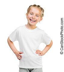 little girl in white t-shirt - Cute little girl in white t...