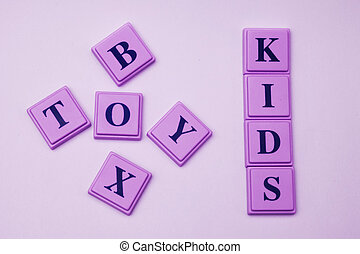 Kids Toy Box spelled out in blocks