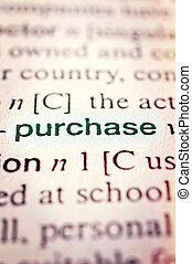 Purchase concept in word tag Selective focus in the middle...