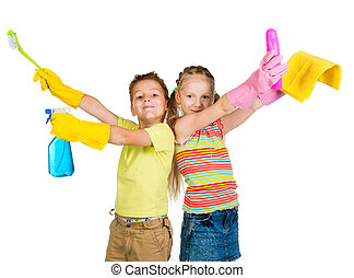 smiling kids with detergents