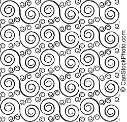 Spirals seamless pattern - Black and white styled spirals...