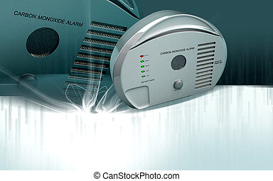 Carbon monoxide alarm - Digital illustration of Carbon...