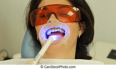 Teeth Whitening Activation of the gel polymerization light...