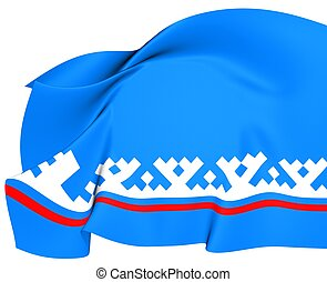 Yamalo-Nenets Autonomous Okrug Flag, Russia. Close Up.
