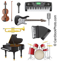 set icons of musical instruments vector illustration...