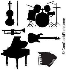 silhouettes of musical instruments - set icons silhouettes...