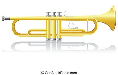 trompete, vetorial, Ilustração