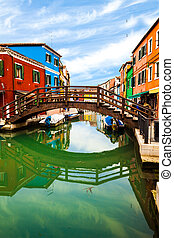 Bridge In Burano, Italy - Traditional architecture in the...