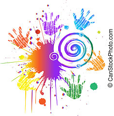 Hands and ink grunge swirly vector - Hands and ink grunge...