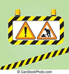 warning signs vector - the warning signs vector on green...