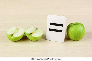 escola, cartão, maçã,...