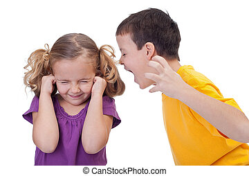 Quarreling kids - boy shouting to girl - isolated